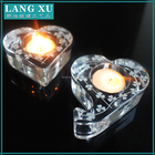clear crystal glassware crystal heart shape tealight candle holder