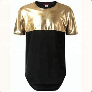 Mens hip hop golden PU leather t shirt