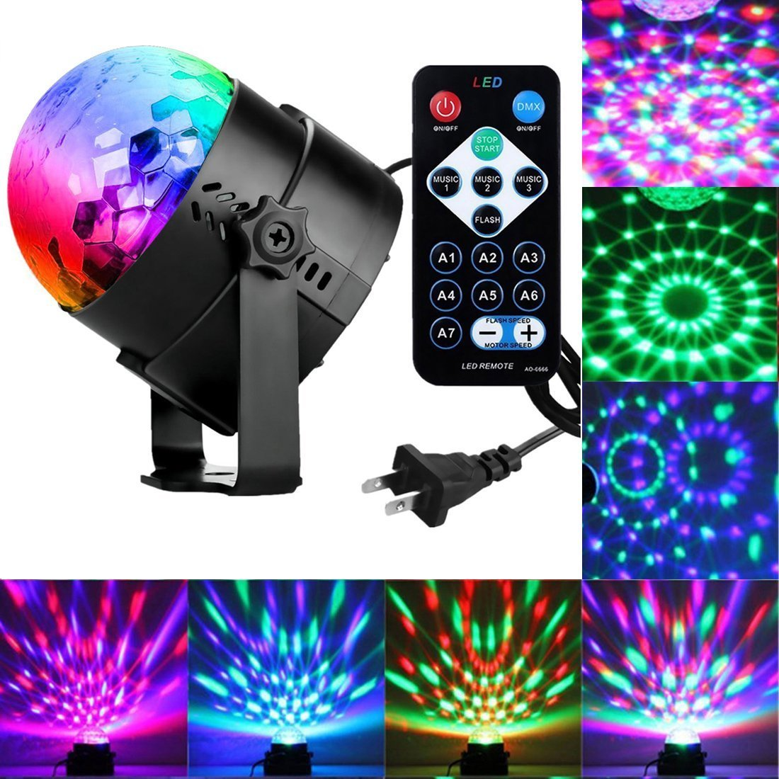 Get Quotations · Sound Activated Party Lights With Remote Control Dj  Lighting, RBG Disco Ball, Strobe Lamp