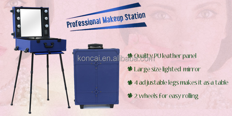 Professional beauty aluminum rolling makeup case, rolling lights case decorative box with compartments and mirror