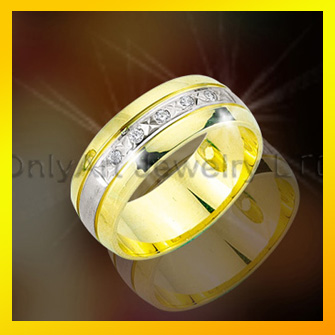 Small order acceptable 18k gold plated silver cz rings wedding rings