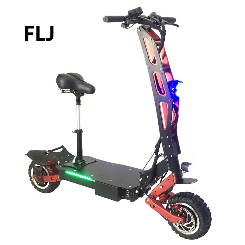 FLJ Electric Scooter 11 Inch 60V 3200W off road foldable dual motor electric scooter for adults, Black+red