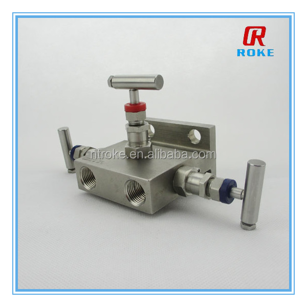Stainless Steel High Pressure Integrated hydraulic 3-Valve Manifold