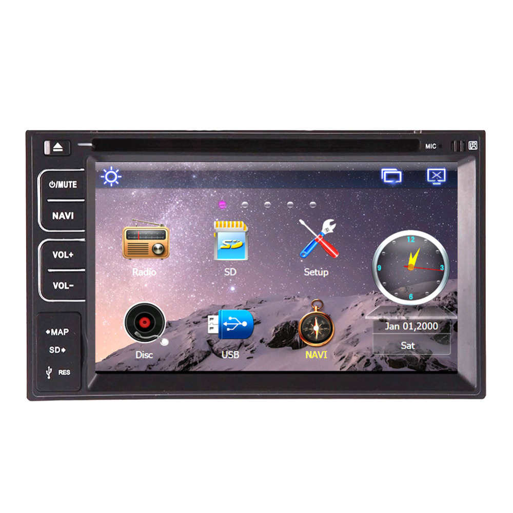 "Universal 6.2"" Double 2 Din GPS Navigation Car PC Radio DVD CD mp3 Player USB Sd Bluetooth Car Audio Stereo Wall Paper exchange"