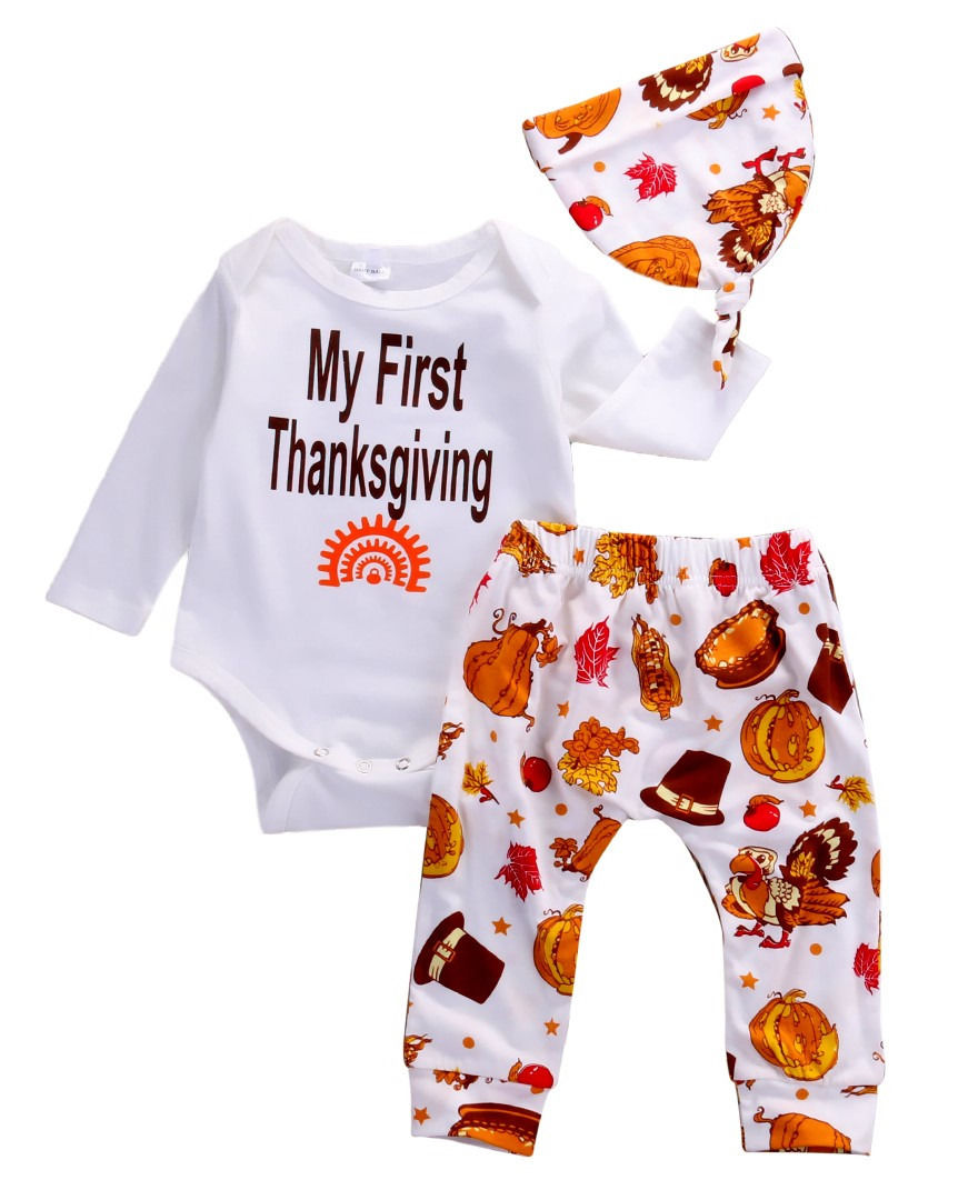 e4ecf668d019 Thanksgiving Infant Baby Boy Girl Outfits Clothes Romper Pants Leggings  3PCS Set baby set newborn clothing set kids clothes 2016-in Clothing Sets  from ...