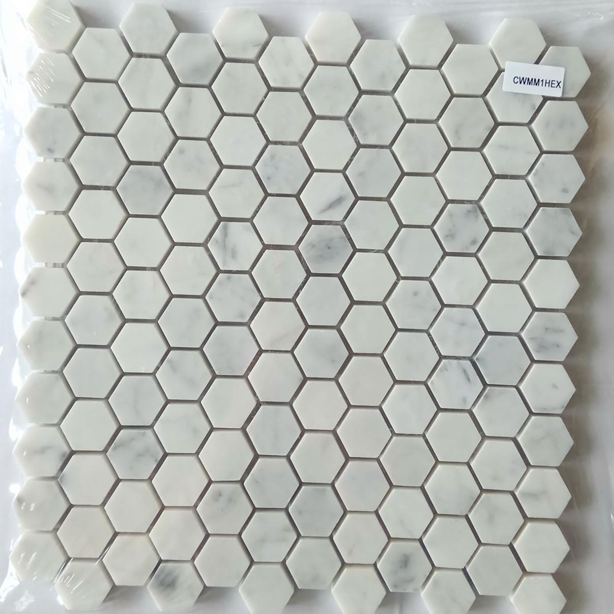 4 Inch Wood White Hexagon Marble Mosaic Floor Tile Tiles Product On Alibaba