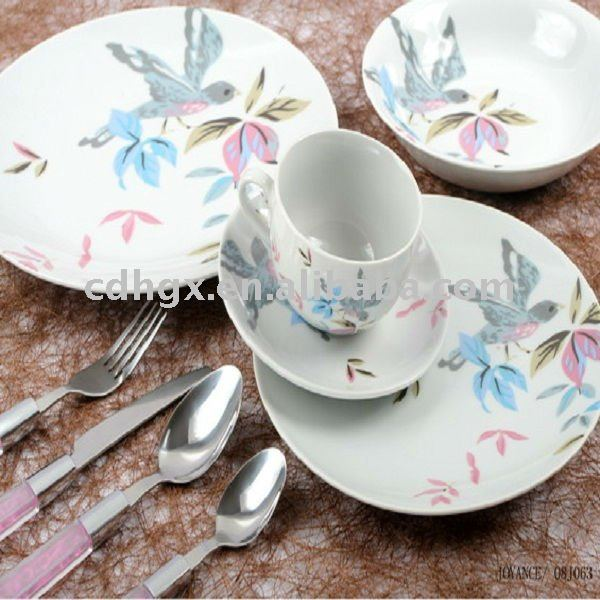 British style porcelain dinenr set ceramic kitchenware dinnerware porcelain plate bowl cup