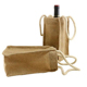 New Material Eco-friendly Natural Jute Burlap One Bottle Wine Tote with Rope Handles
