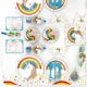 EasternHope Unicorn Children's Party Supplies, Europe and America Happy Birthday decorations, tableware set