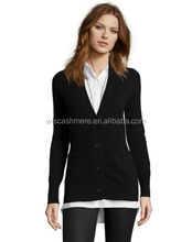 Black Cashmere V-Neck Button Front Boyfriend Cardigan Women