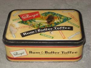Vintage Sharps Rum & Butter Toffee Candy Collectible Tin - 6 1/2 x 4 1/2 x 2 1/4 Inches - Made In England