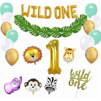 Wild One Kids First Birthday Balloons Artificial Palm Leaves Safari Zoo Jungle 1st Themed Banner Kit