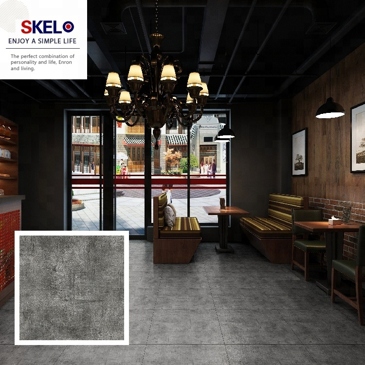 Wholesale 600x600mm Coffee Shop Dark Grey Ceramic Flooring Tile