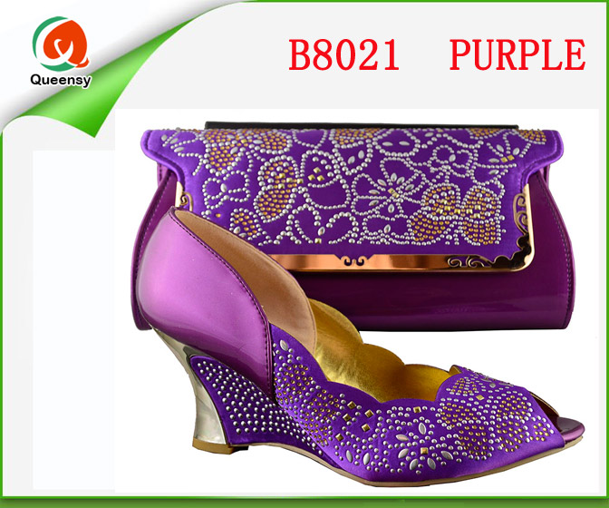 B8021 purple 5 styles elegant styles italian matching shoes and bags