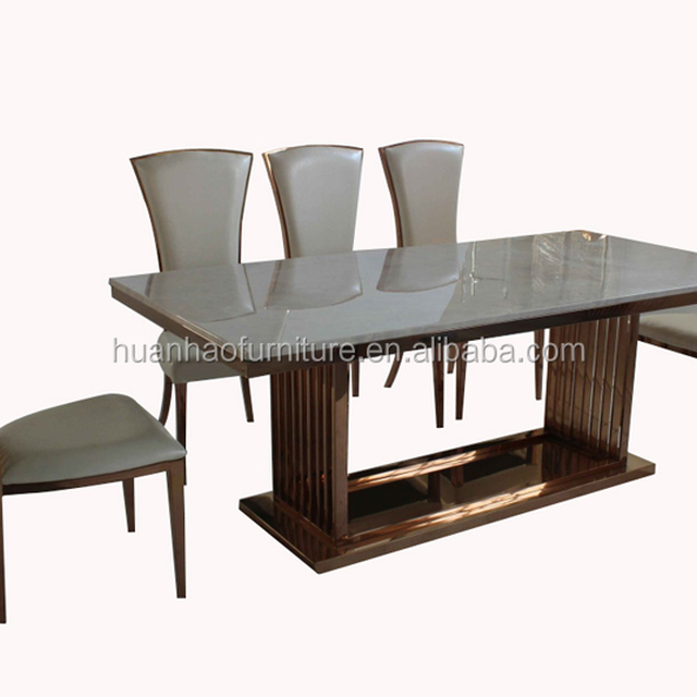 Dining Table With Gold Legs Part - 15: Marble Dining Table Gold Leg With Lazy Susan DH-1602
