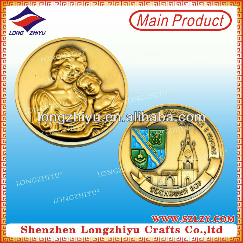 Mum and baby 3D design commemorative antique bronze badge coin medallion medal maker