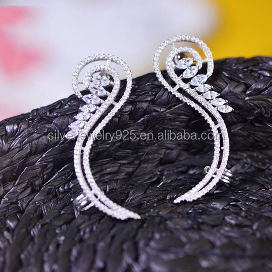 China Guangzhou Wholesale Jewelry S925 Silver Climb Upper Ear Earrings for Lady