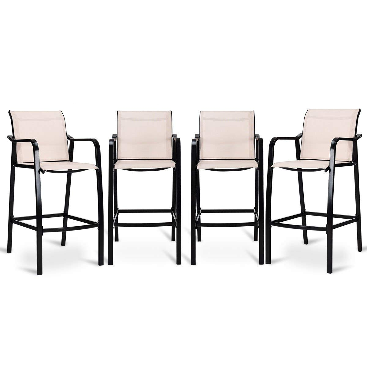 642623e62f9 Get Quotations · COSTWAY Set of 4 Bar Chairs Modern Style Counter Height  Stool Steel Frame Sling Dining Chairs