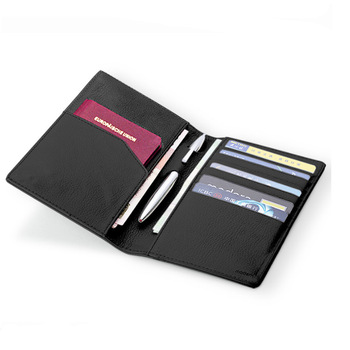 2019 new High End Black And White Leather Travel Wallet Ticket Organizer holder Passport Holder with pen slot