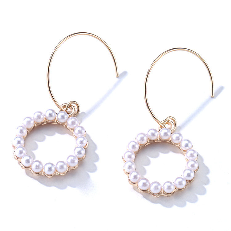 Lancui Fashion Pearl Earrings Small Rings Geometric Pattern Ear Hook Circle Earrings