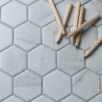 Ink Jet 2 Inch Carrara White Hexagon Bathroom Wall Porcelain Mosaic Tile Looks Like Marble