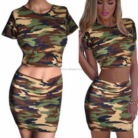 Hunting Camouflage Clothing Women's Set Short Top Skirt Lady Mini Shirt Pencil Skirts Girl Summer Clothing Party Club Sexy Set