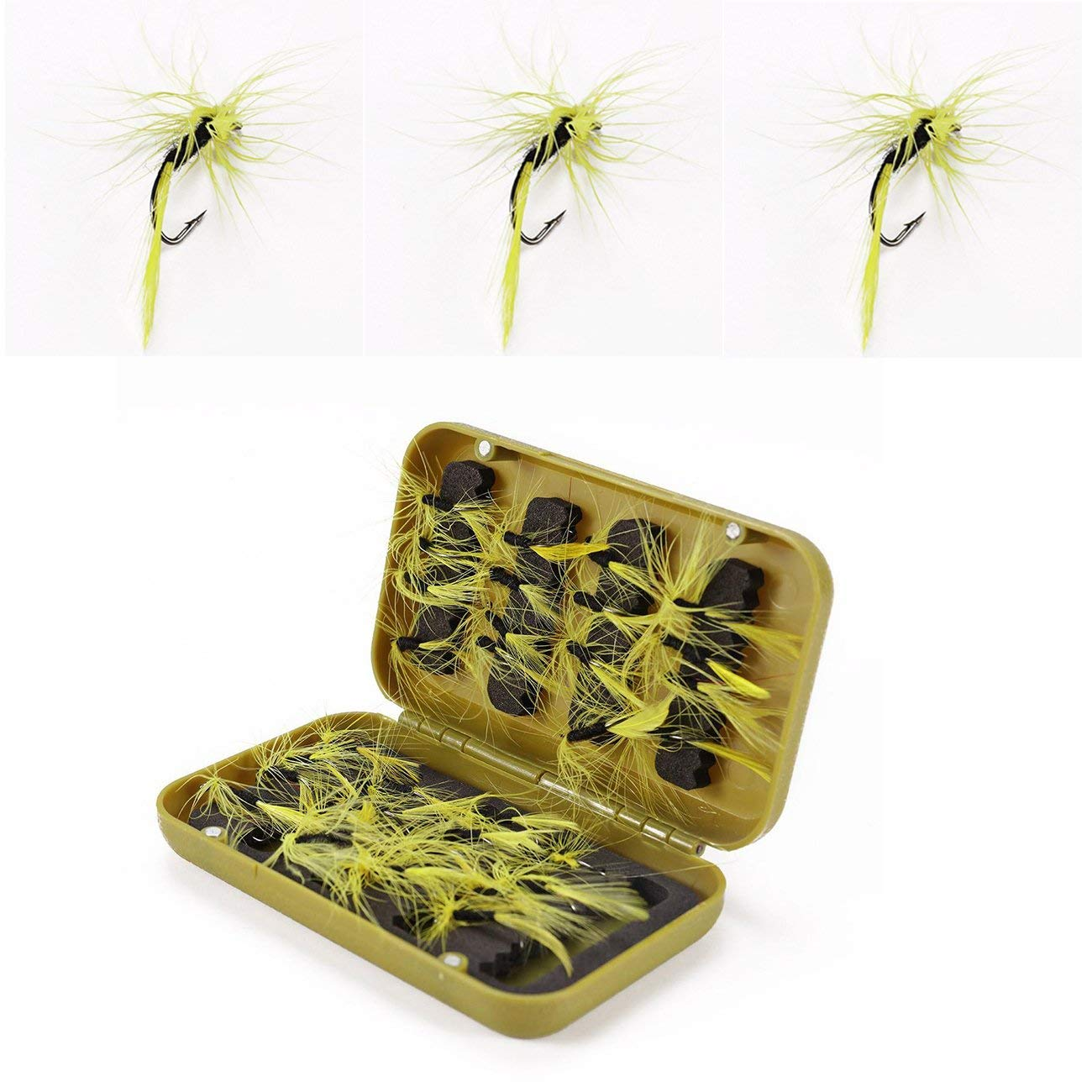 Dyna-Living Fly Fishing Flies Kit - 32 pcs Handmade Fly Fishing Lures - Dry Flies,Streamer, Nymph, Emerger with Waterproof Fly Box