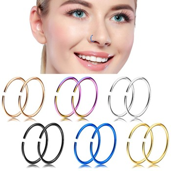 Fancy Gold Titanium Nose Bone Stud Ring Nose Piercing Hoop Ring Body
