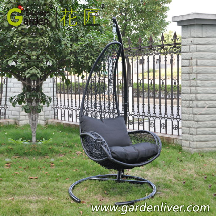 Beautiful Metal Rattan Swing Basket With Cushion Outdoor Metal Single Seat  ZG38