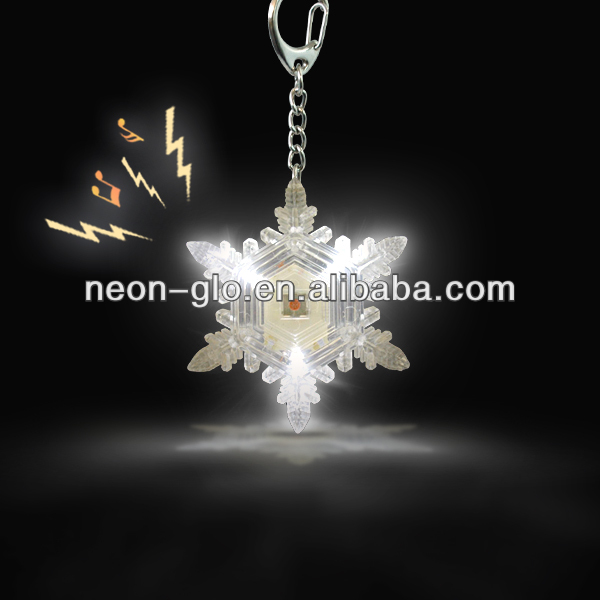 Flash Snow Flake Key Chain w/Sound, w/Rubber Paint For Parties And Events