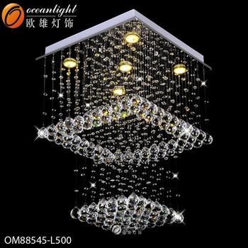 Modern Restaurant LED Crystal Ceiling Light Lobby Pendant Lamp Chandelier  Distributor Boxes OM9157