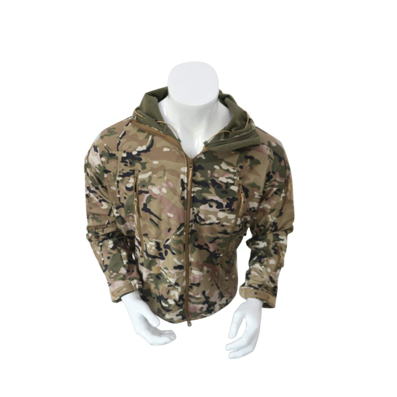 211857a8a6d Get Quotations · Men s Army Outdoor Military Special Ops Softshell Tactical  Hooded Jacket Sports Windproof Hunting Jacket Multicam