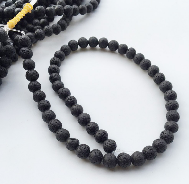 Designer Jewelry Loose Spacer Beads Real Natural Lava Stone Beads Round DIY Making Black Lave Stone Beads