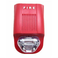 red fire alarm sounder with strobe