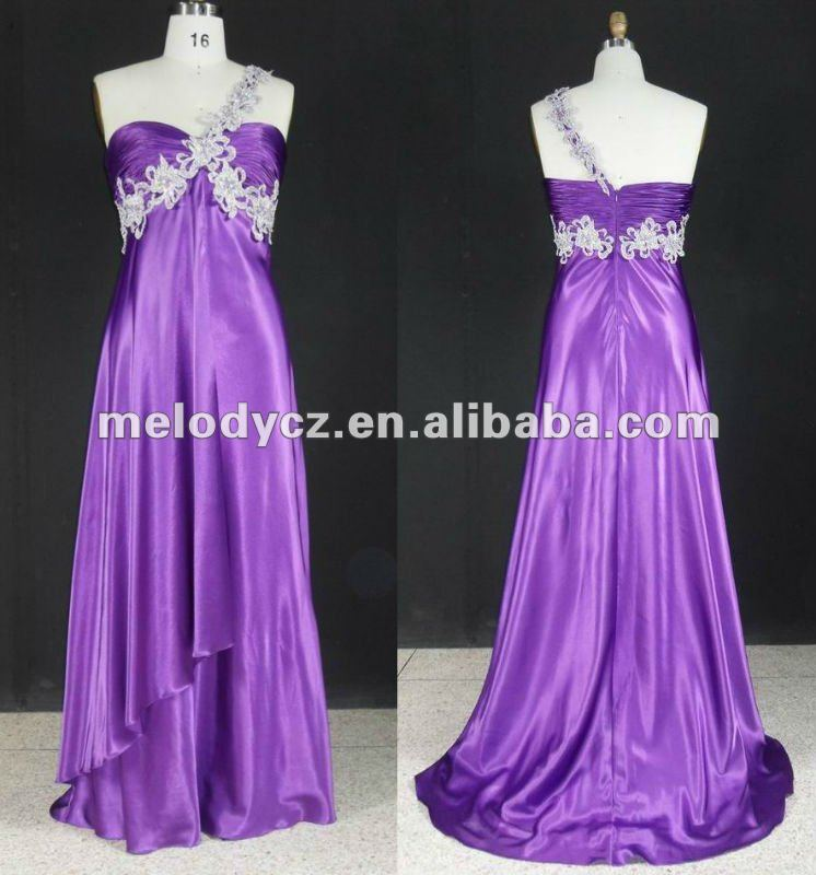 Nice purple fit flare beaded one shoulder adults evening dresses zuhair murad