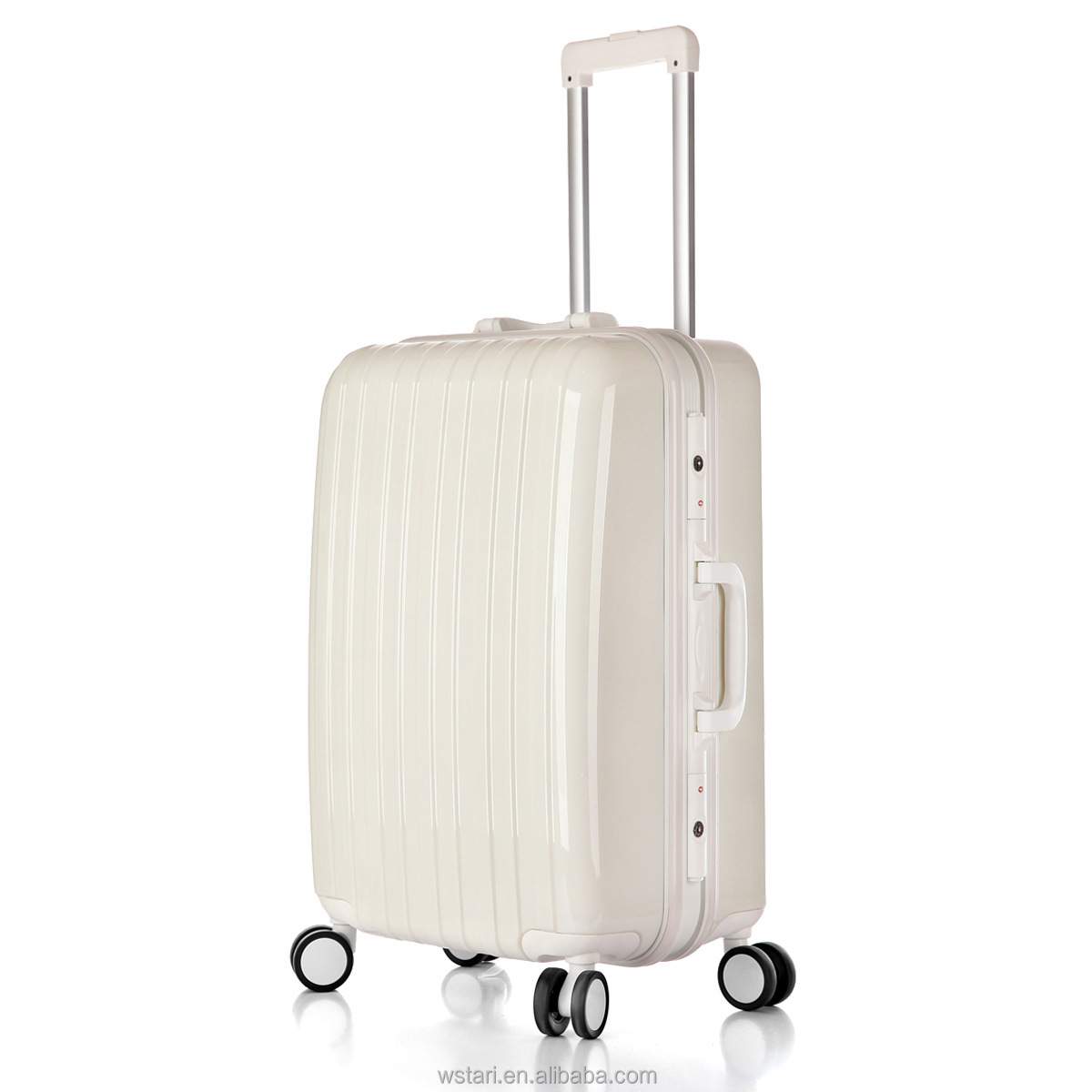 Brand White Universal Wheels Trolley Aluminum Frame Luggage Check Box Travel Bag Pc Wheeled