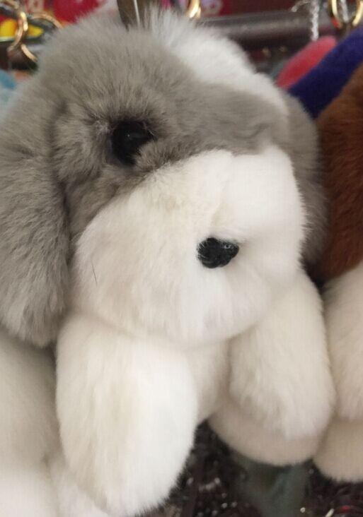 gray rabbit key chain authentic mink fur lazy rabbit perfect for car keychain bag purse. Black Bedroom Furniture Sets. Home Design Ideas