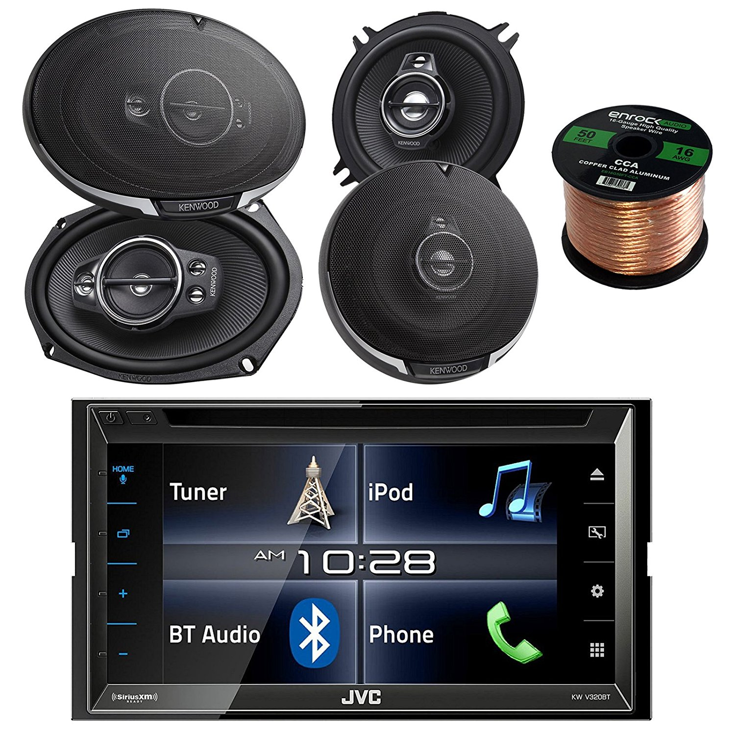 "JVC KWV320BT 6.8"" Touch Screen Car CD/DVD Bluetooth Stereo Receiver Bundle Combo With 2x Kenwood 6-1/2"" 3-Way And 2x 6x9"" Inch 5-Way Black Audio Coaxial Speakers + Enrock 50 Feet 16-Gauge Speaker Wire"