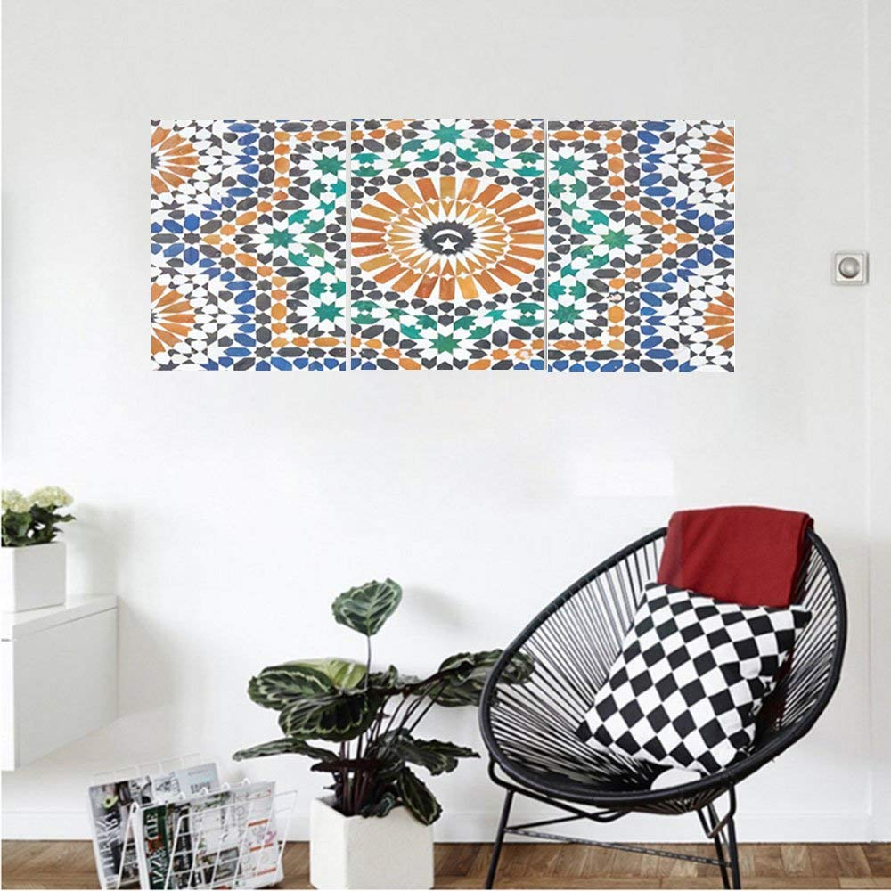 Liguo88 Custom canvas Moroccan Decor Collection Traditional Moroccan Mosaic Tile Style Art Moon and Star at the Center Ottoman Motifs Bedroom Living Room Wall Hanging Blue Orange