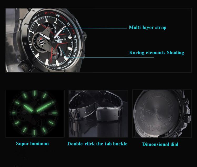 Бренд гонконг CASIMA 100 M водонепроницаемый мужчины мужские военный дайвинг часы светящийся спорт часы