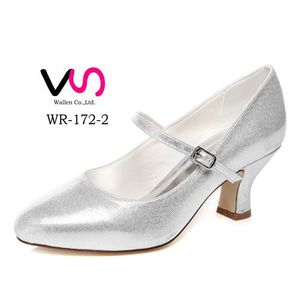 Chunky heel silver shoes for wedding WR-172-2 wedding dress shoes bridal shoes
