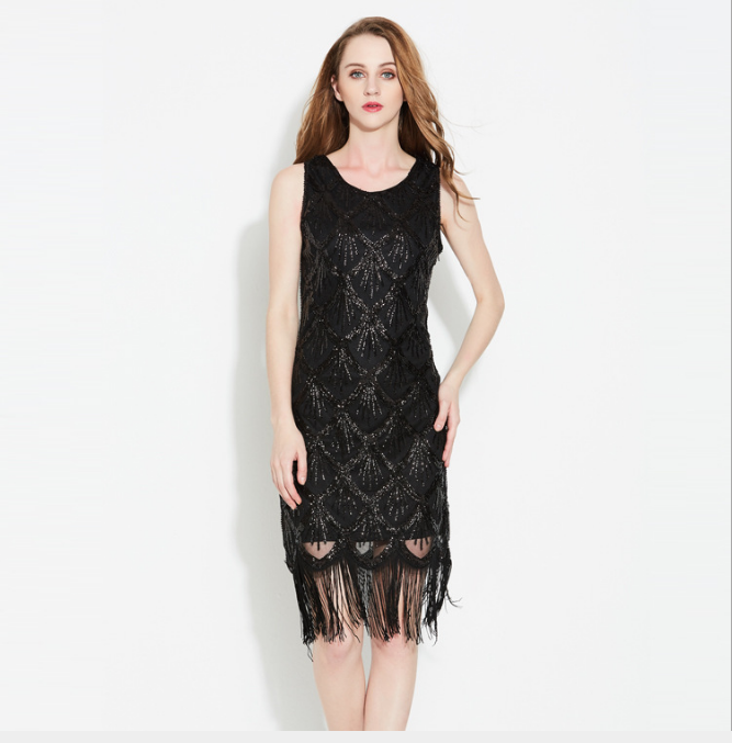 1920s <strong>Vintage</strong> <strong>Inspired</strong> Sequin Embellished Fringe Gatsby Flapper <strong>Dress</strong> Cocktail Christmas/Halloween Costumes Dance <strong>Dress</strong>