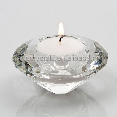 Wedding favor decorations clear crystal diamond candle holder