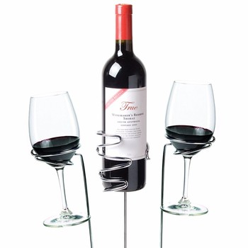 Merveilleux Garden Stake Wine Bottle Wick Candle Holder   Black Wine Stake