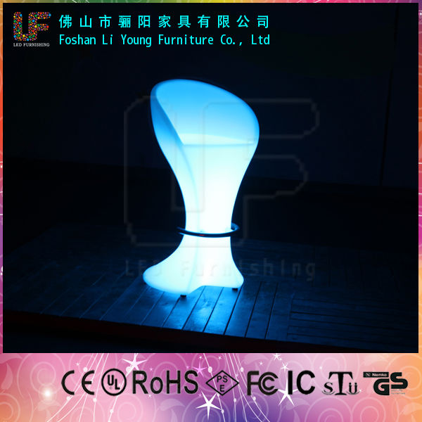 commercial illuminated outdoor furniture Rotational white PE plastic high stool tall LED Bar Chair