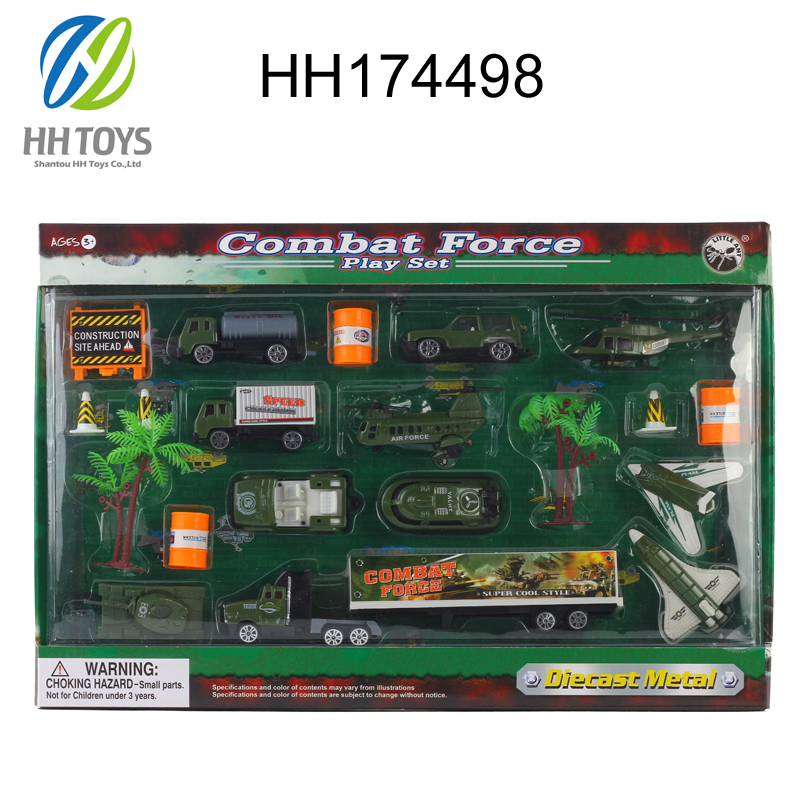 Die cast kids toy factory dump truck toy military toys play set HH174498