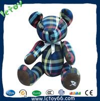 custom printing fabric craft plush jointed teddy bears