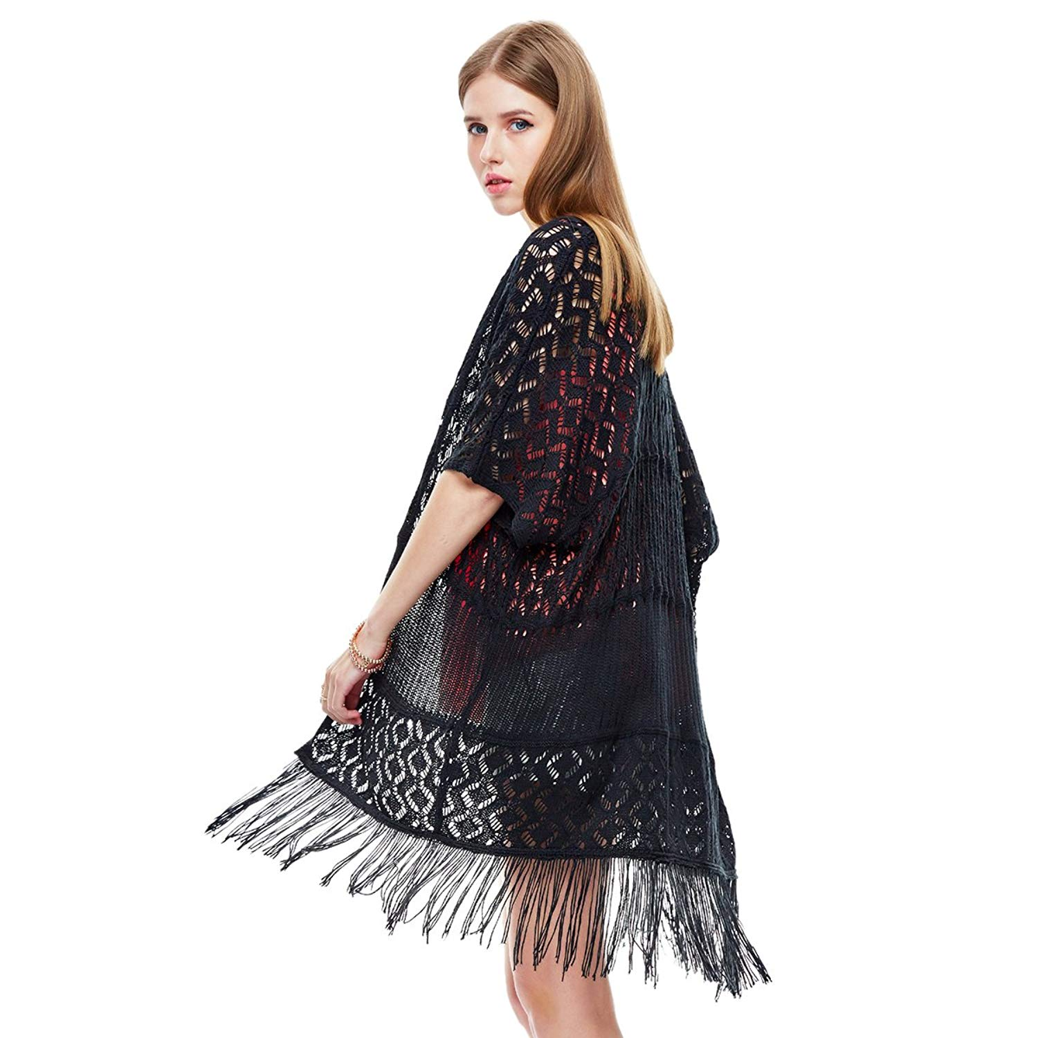 c676d2c1f0 Get Quotations · Heart Soul Women s Lace Cardigan Kimono Outfit Beach Dress  Cover up Swimwear Bikini Lace Long Tassel