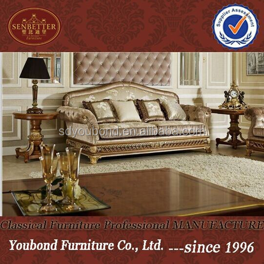 0062 Italian luxury living room furniture, new model wooden classic sofa sets