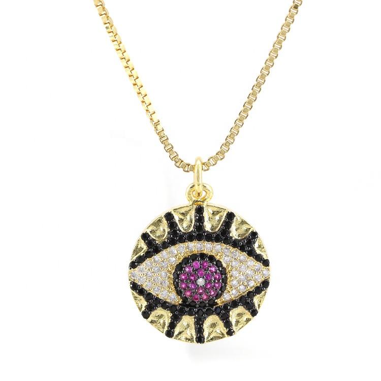 Red Evil-eye CZ Necklace Pendant Female Jewelry фото